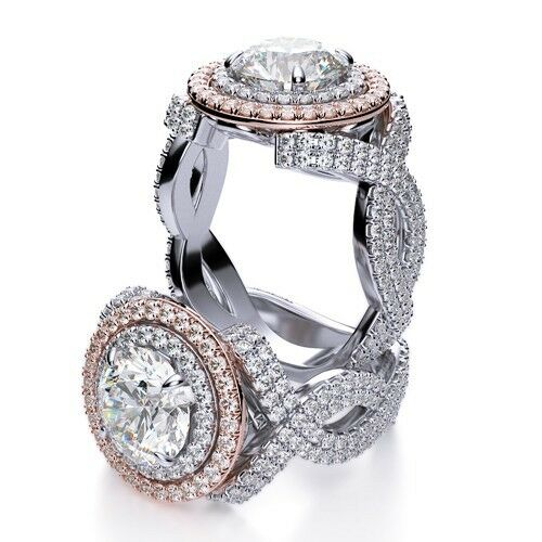 7.20 Ct Round Cut Infinity Style Two Halo Diamond Engagement Ring GVVS1 GIA