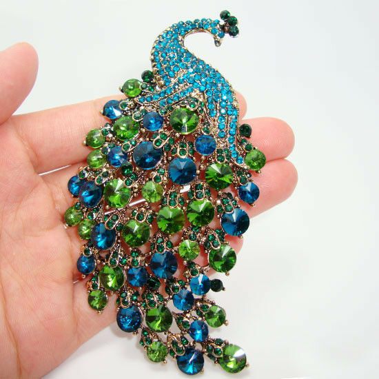 Art Nouveau Peacock Brooch Pins Vintage Style Green Crystal Rhinestone Jewelry