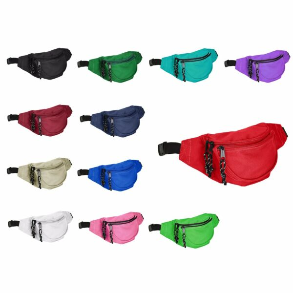 DALIX Fanny Pack Red Black Blue Navy Royal White Tan Aqua Green Money Pouch Pack