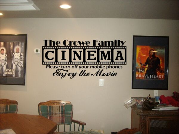 Cinema Theatre customized sign home movie theater vinyl wall decor mural decal