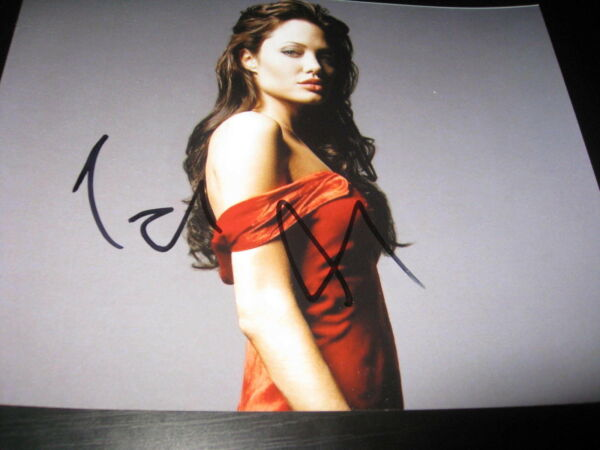 ANGELINA JOLIE SIGNED AUTOGRAPH 8x10 PHOTO SEXY BABE IN PERSON RED DRESS SEXY J