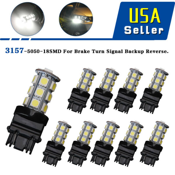 10X White 3157 3156 18 SMD LED TailBrake Daytime Running Light Bulbs T25 4114