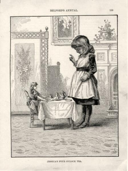 A Ministering Angel  -  Children  - Knitting  -  Doll  - Original Print  -  1888