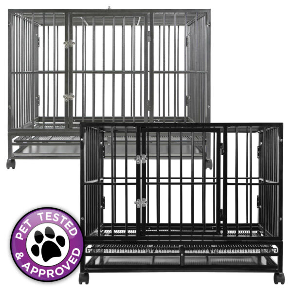 Heavy Duty Metal Dog Crate Cage Indoor Outdoor Kennel Pen 3 Sizes amp; 2 Colors $139.99