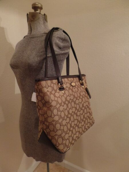 SUPER CUTE COACH OUTLINED SIGNATURE TOTE SHOULDER IN KHAKIBROWN - 36185