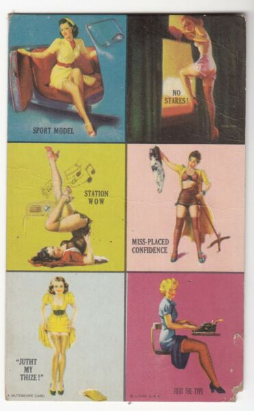 [53492] OLD MUTOSCOPE CARD SIX SQUARES from YANKEE DOODLE GIRLS series