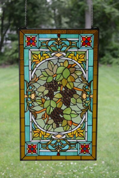 20quot; x 34quot; Large Handcrafted stained glass window panel Grape W Vine