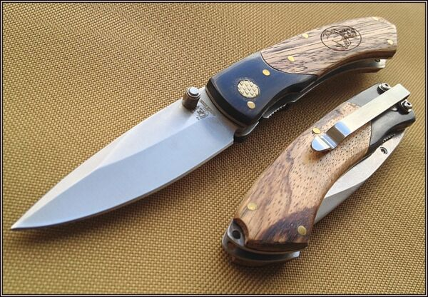 ROUGH RIDER WOOD HANDLE LINERLOCK FOLDING KNIFE RAZOR SHARP BLADE WITH CLIP