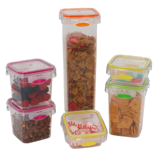 Food Storage 12 Piece Air Tight Set Colorful Plastic Container - Pantry Snacks