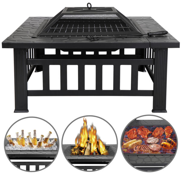 32quot; Square Fire Pit Outdoor Patio Metal Heater Deck Backyard Fireplace w Cover
