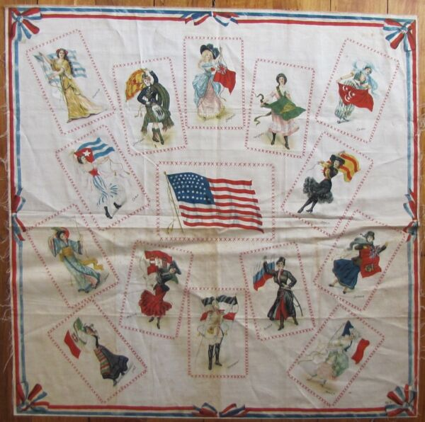 Rare 1912 S110 Turkish Trophies Flag Bearers Silk Tobacco Premium Pillow Top