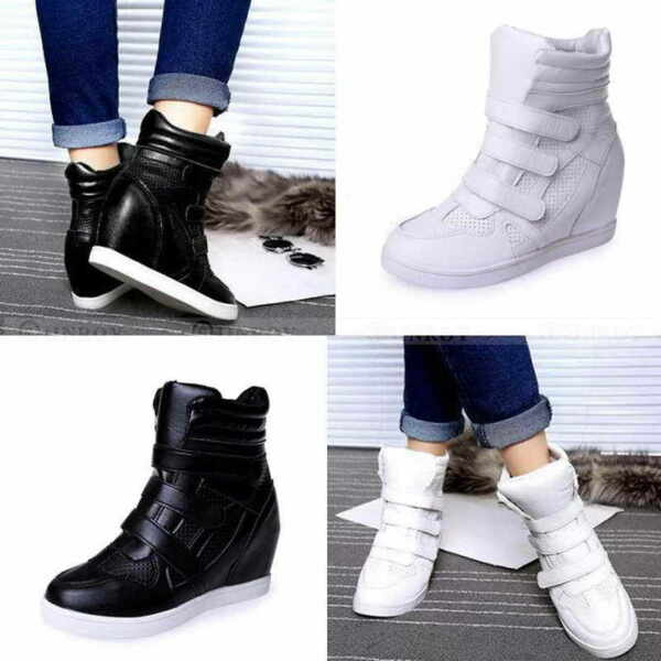 Womens High Top Hidden Wedge Sneakers Casual Shoes Woman Ankle Boots