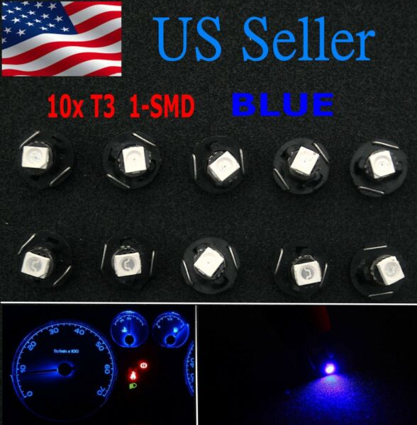 10x Blue T3 Neo Wedge LED Cluster Instrument Dash Climate Base Light Bulbs US
