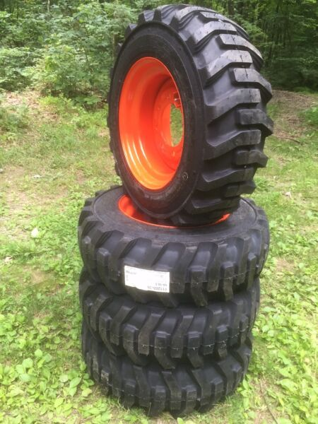 4 NEW 10-16.5 Galaxy Skid Steer Tires & WheelsRims for Bobcat -10 ply-10X16.5