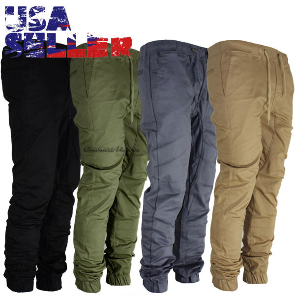Mens Casual Pants Twill Joggers Hip Hop Elastic Jogger Slim Fit Stretch Trousers $23.95