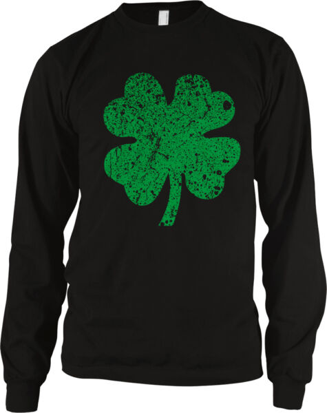 Four Leaf Clover Lucky Distressed Good Luck Looking Irish Pick IRE Men's Thermal