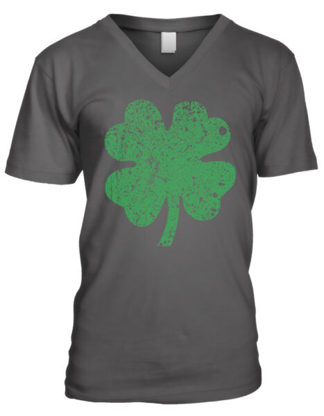 Four Leaf Clover Lucky Distressed Good Luck Looking Irish Men's V-Neck T-Shirt