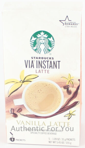 NEW Starbucks Coffee VIA Instant Vanilla Latte 1 box of 5 packets
