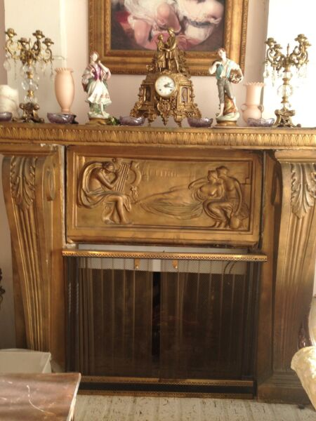 Great Fireplace Front A Ornate Design In Gold Concrete; Disassembles In 4 Pieces