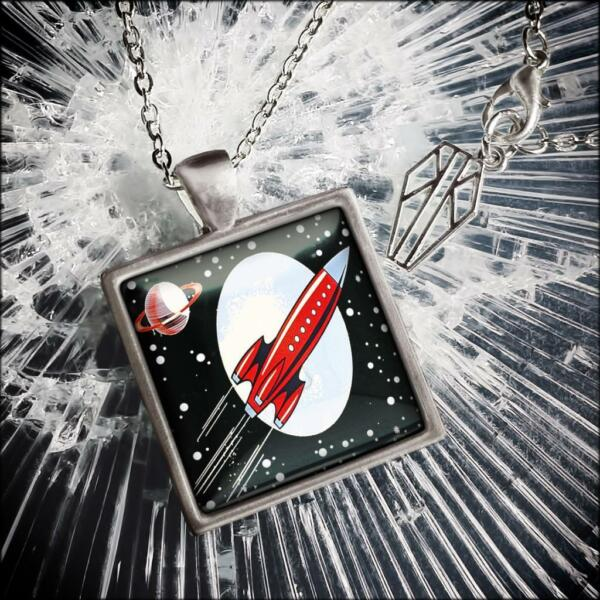 Retro Spaceship Toy Rocket Pendant Necklace $19.98
