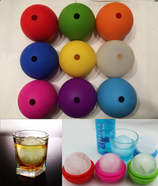 2.5quot; Bar Silicone Ice Cube Ball Maker Mold Sphere Large Tray Whiskey DIY Mould $5.95