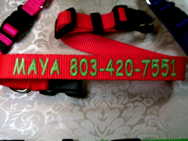 Personalized Monogrammed Adjustable Dog Collars 1quot; 3 4quot; 5 8quot; Wide Heavy Nylon $14.89