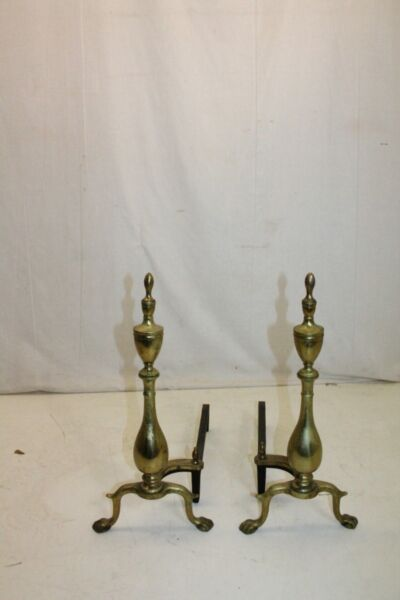 Charming Pair of Regency Style Brass Puritan Andirons Fireplace 19th Century