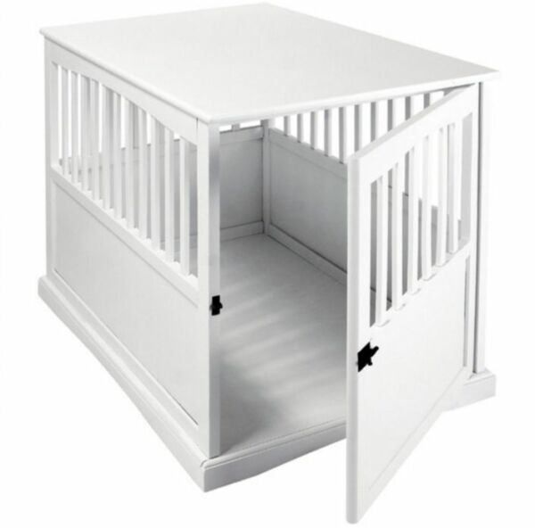 Large Dog Kennel White Wooden Pet Cage Oversized Wood Crate Bed Table Furniture