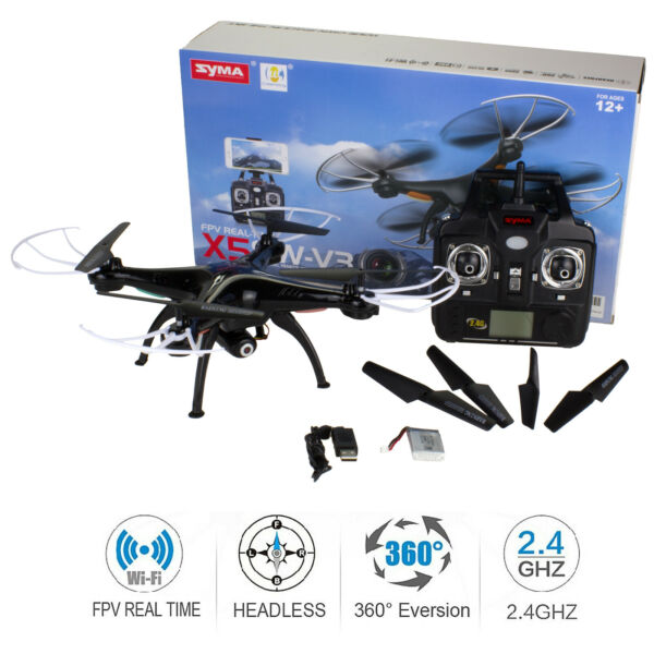 SYMA X5SW Black WiFi FPV 2.4Ghz Quadcopter Drone HD Camera RTF +3 Batteries
