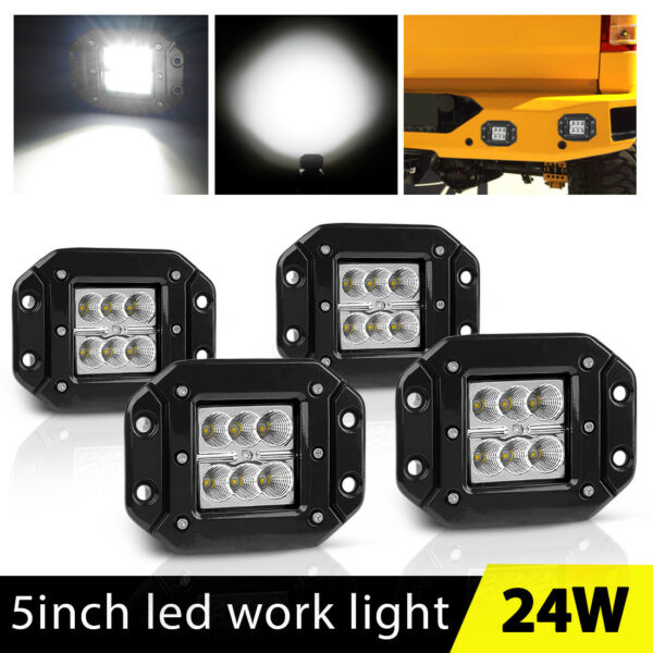 4x Flush Mount Led Lights Pods 5inch Tractor ATV Camping Reverse Driving Flood 4