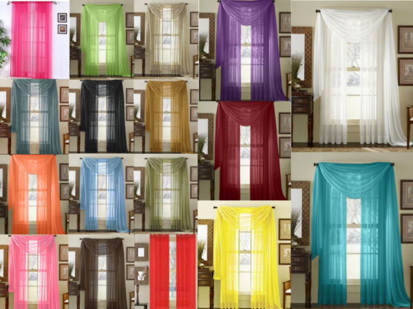 Empire Home Sheer Voile Window Treatment Curtain Panel Drapes Solid 84