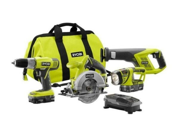 Ryobi 18v Lithium-Ion Cordless Drill Super Combo Kit Power Tool Equipment Tools
