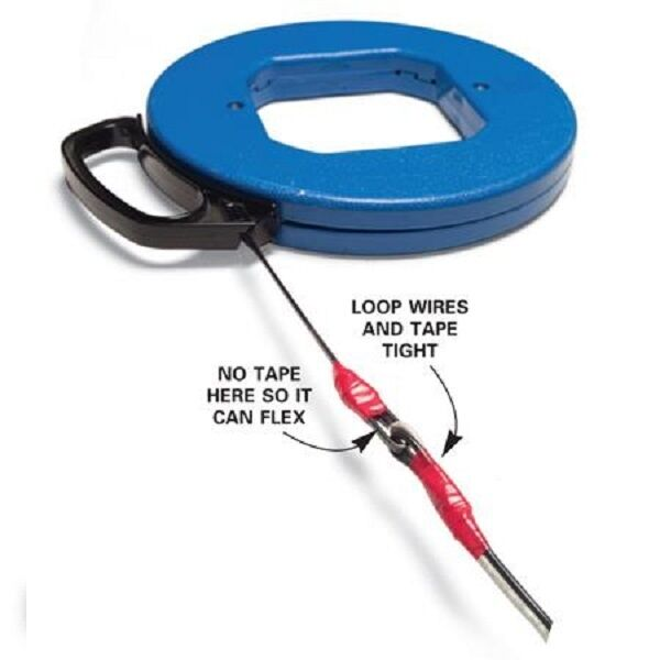 100ft Fish Tape Wire Cable Puller Electricians Reel Tape $27.95