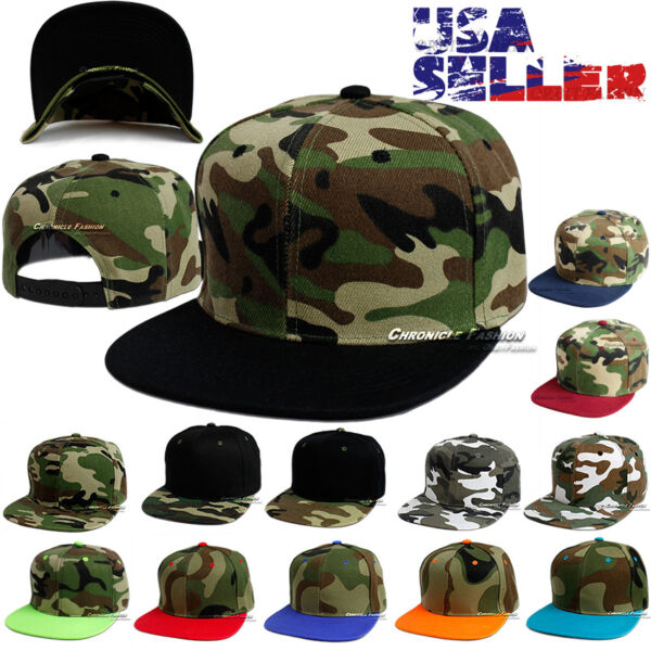 Camouflage Tactical Baseball Cap Adjustable Hat Hip Hop CAMO Solid Flat Brim Men