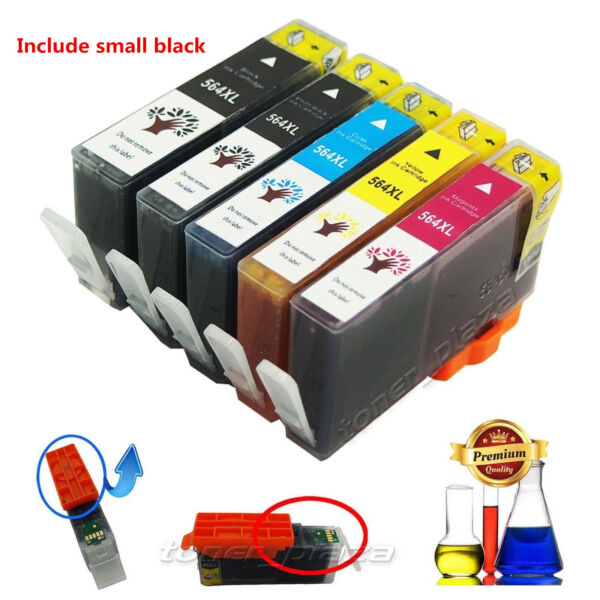 5 PK High Yield For HP 564XL 564 XL Ink Cartridges BlackColor Set With New Chip