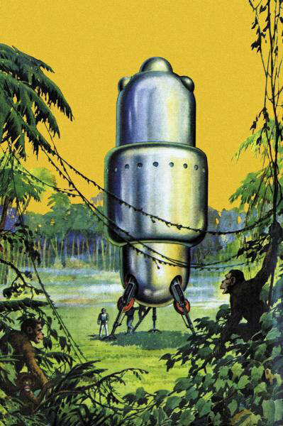 Spaceship in the Jungle Retro Sci Fi Science Fiction Vintage Print Poster 16x24 $32.30