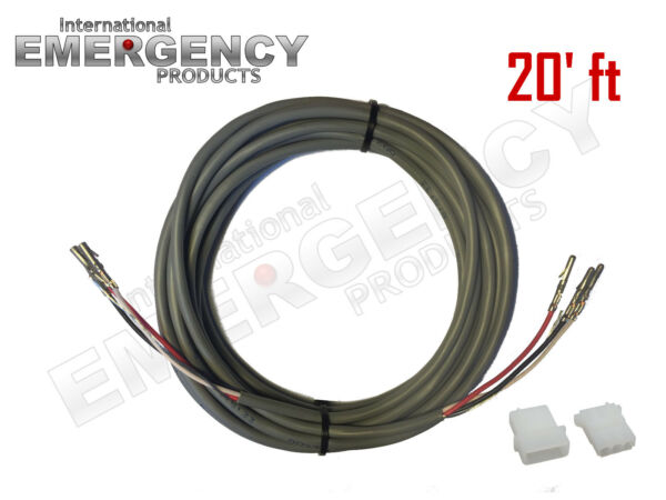 20#x27; ft Strobe Cable 3 Wire Power Supply Shielded for Whelen Federal Signal Code3