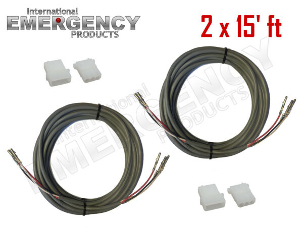 2x 15' ft Strobe Cable 3 Conductor Wire AMP Power Supply w Connector for Whelen