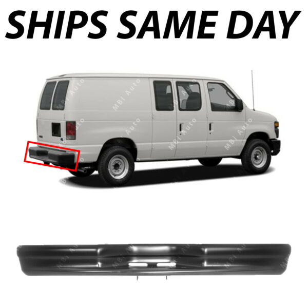 NEW Primered Black Steel Rear Bumper Bar for 1992 2014 Econoline E150 E250 E350