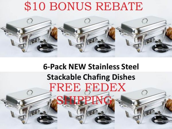 6 Pack NEW Choice Full Size 8 Qt. Stackable Stainless Steel Chafing Dishes $