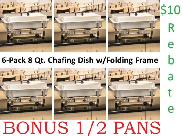 6 Pack Full Size 8 Qt. Stainless Chafing Dishes Folding Frames Rebate 1 2 pans