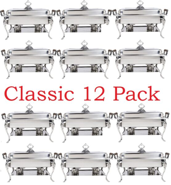Classic Rectangle 8Qt Stainless Steel Chafing Dishes Catering 12 Pack FEDEX