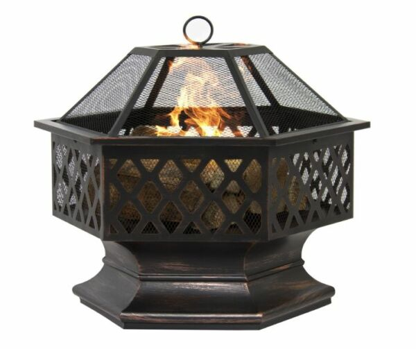 Fire Pits Wood Burning With Screen Cover Outdoor Patio Firepit Portable Backyard