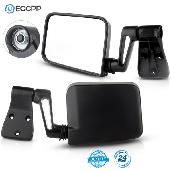Black Manual Passenger Driver Side View Door Mirrors for87-02 Jeep Wrangler Pair
