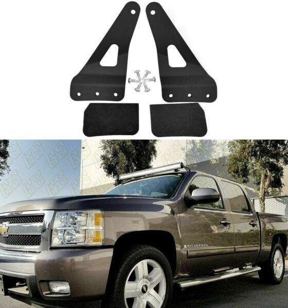 LED Bar Mounting Brackets for Chevy GMC 50quot; Straight Upper Windshield 2007 2013