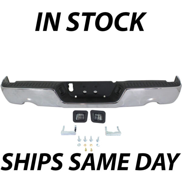 NEW Complete Steel Chrome Rear Step Bumper Assembly for 2009 2018 Dodge RAM 1500