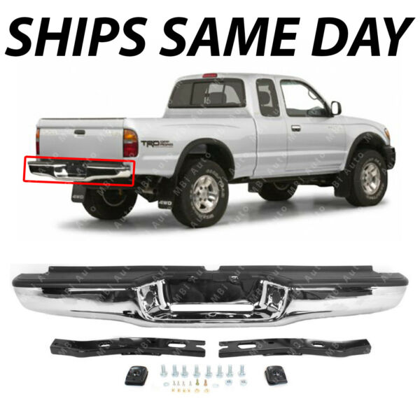 NEW Chrome Complete Rear Steel Bumper Assembly for 1995 2004 Toyota Tacoma $190.99