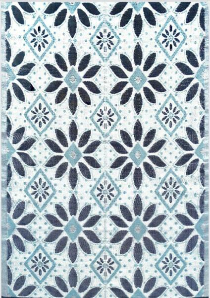 6'x9' Outdoor Rug Patio RV Rug Mat Light Blue Black Grey 331