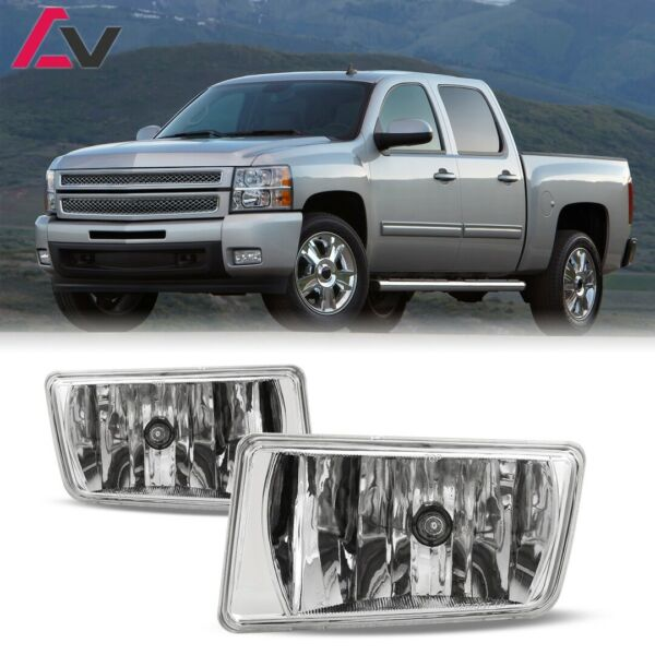 For Chevy Silverado 07-13 Clear Lens Pair Bumper Fog Light Lamp OE Replacement
