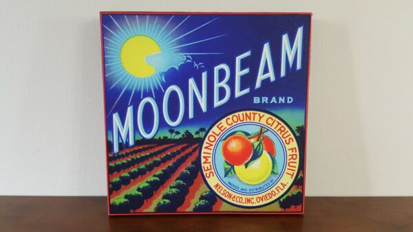 "Moonbeam Vintage Citrus Crate Label 16"" x 16"" Gallery Wrapped Canvas"